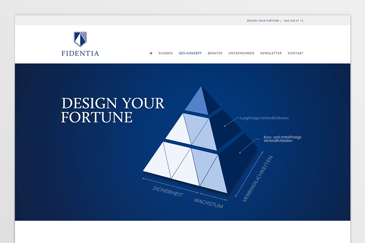 Web-Design der Fidentia AG - IPR Consulting Establishment