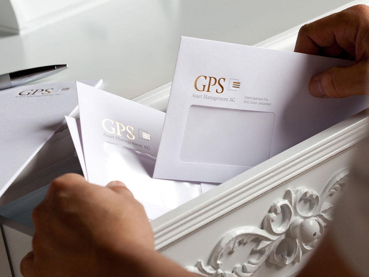 Briefumschlag der GPS Asset Management AG - IPR Consulting Establishment