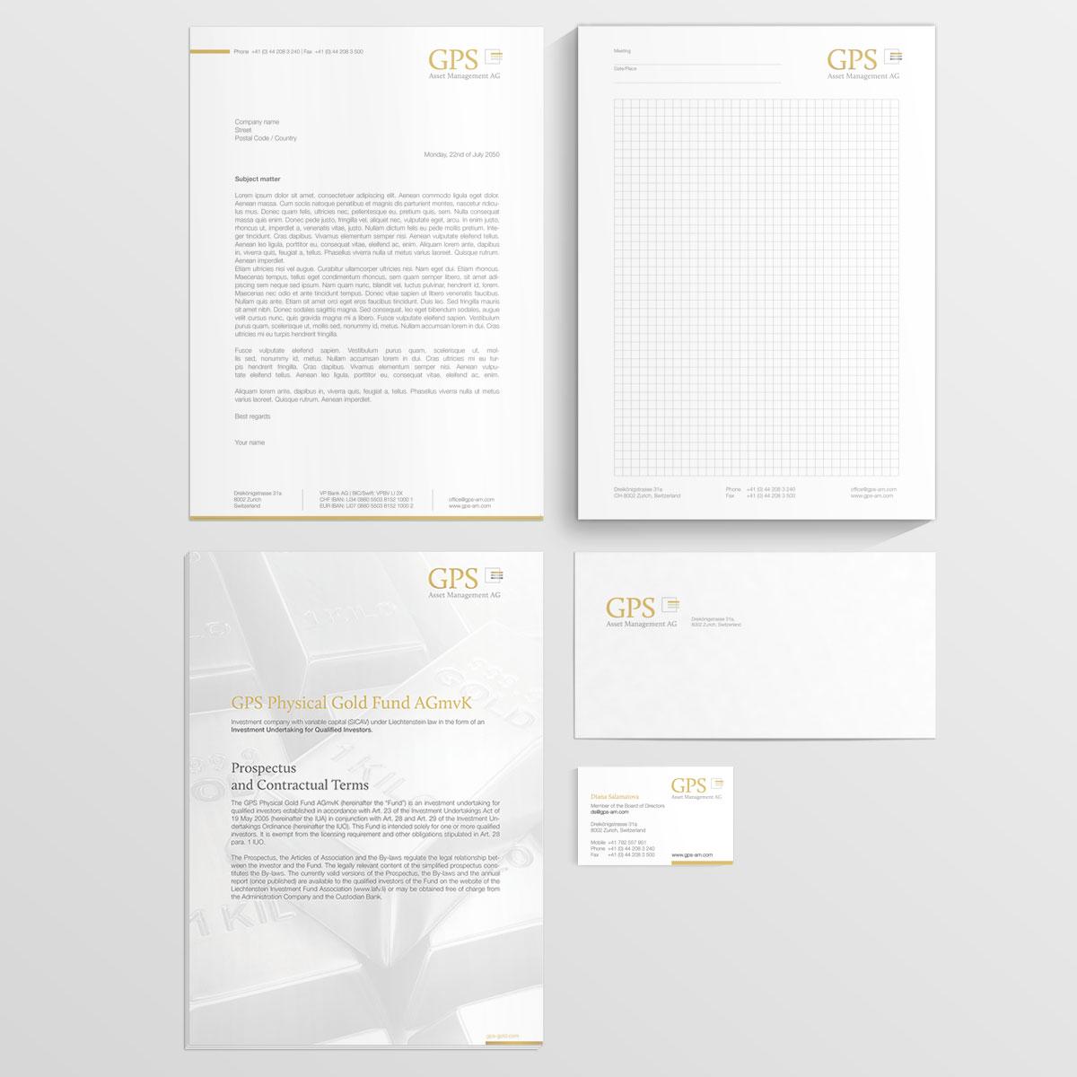 Stationary Design und Fund Documents GPS Asset Management AG - IPR Consulting Establishment